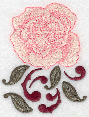 Embroidery Design: Single rose 2.95w X 3.85h