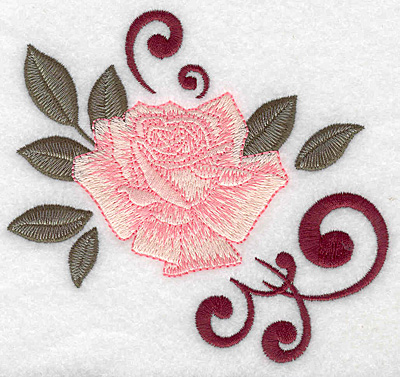 Embroidery Design: Rose with swirls 4.97w X 4.58h