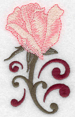 Embroidery Design: Rose bud opening 2.17w X 3.66h