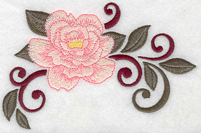 Embroidery Design: Rose and leaves 6.27w X 3.98h