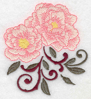 Embroidery Design: Rose duo 3.44w X 3.83h