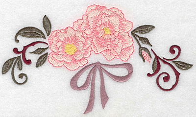 Embroidery Design: Roses and ribbons 6.98w X 4.02h