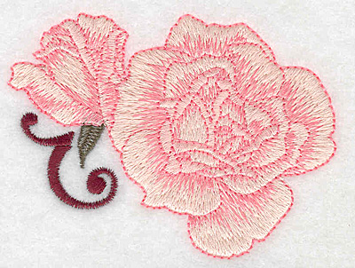 Embroidery Design: Rose and bud 3.82w X 2.90h