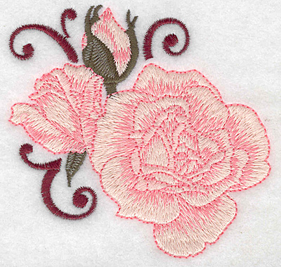 Embroidery Design: Rose and buds small 3.82w X 3.76h
