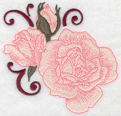 Embroidery Design: Rose and buds large 4.98w X 4.89h