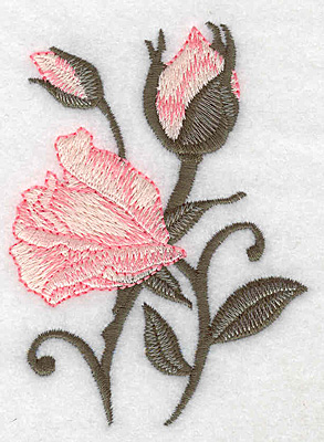 Embroidery Design: Rose opening with buds 2.80w X 3.84h