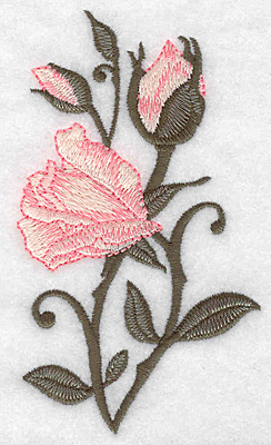 Embroidery Design: Rose opening with buds long 2.83w X 4.97h