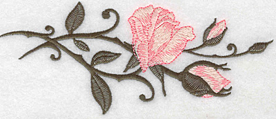 Embroidery Design: Rose and buds horizontal 6.93w X 2.86h