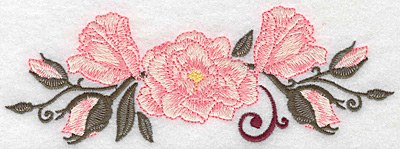 Embroidery Design: Roses with swirl 6.93w X 2.39h