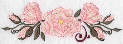 Embroidery Design: Roses with swirl large 9.00w X 2.99h