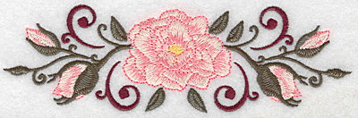 Embroidery Design: Rose buds and swirls 6.99w X 2.20h