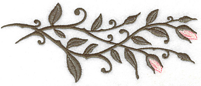 Embroidery Design: Rose buds horizontal 6.98w X 2.86h