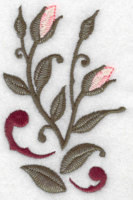 Embroidery Design: Rose buds verticle 2.51w X 3.80h