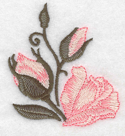 Embroidery Design: Rose and buds 2.65w X 3.00h
