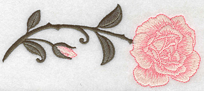 Embroidery Design: Rose horizontal 6.95w X 2.91h