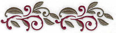 Embroidery Design: Swirls and leaves horizontal 6.97w X 1.85h