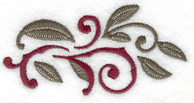 Embroidery Design: Swirls and leaves small 3.62w X 1.85h