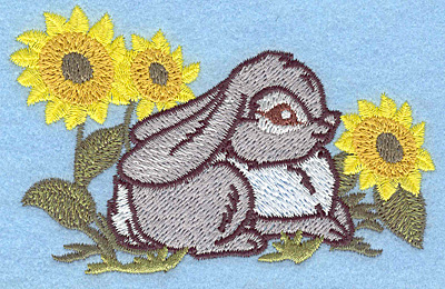 Embroidery Design: Bunny amid sunflowers small 3.87w X 2.49h