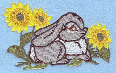Embroidery Design: Bunny amid sunflowers large 4.99w X 3.21h