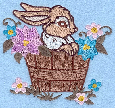 Embroidery Design: Bunny in flower barrel large 4.71w X 4.69h