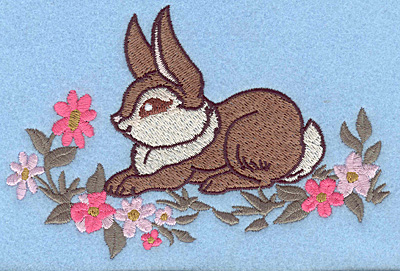 Embroidery Design: Bunny sitting among flowers large 5.41w X 3.61h