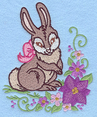 Embroidery Design: Bunny with bow and flowers 4.05w X 4.98h