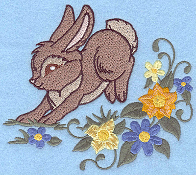 Embroidery Design: Bunny hopping among flowers 5.60w X 4.94h