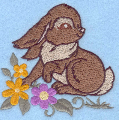 Embroidery Design: Bunny and flowers 3.82w X 3.81h