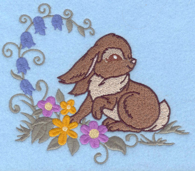 Embroidery Design: Bunny and flowers bluebells 5.79w X 4.93h