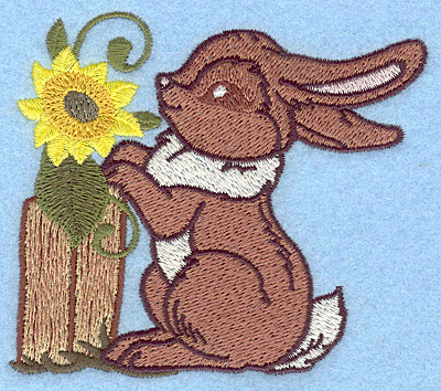 Embroidery Design: Bunny and sunflower 3.89w X 3.45h