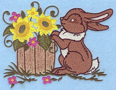 Embroidery Design: Bunny and barrel 5.85w X 4.64h