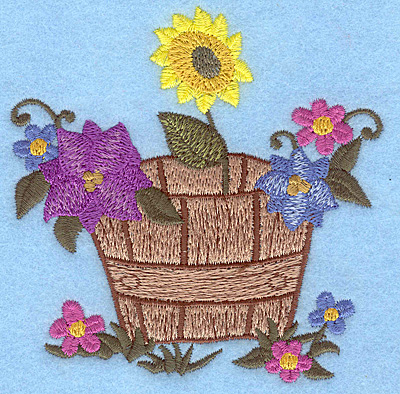 Embroidery Design: Barrel of flowers 3.78w X 3.88h