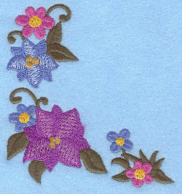 Embroidery Design: Floral corner A 3.28w X 3.53h