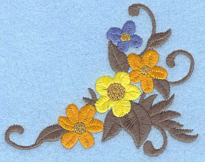 Embroidery Design: Floral corner B 3.85w X 3.05h