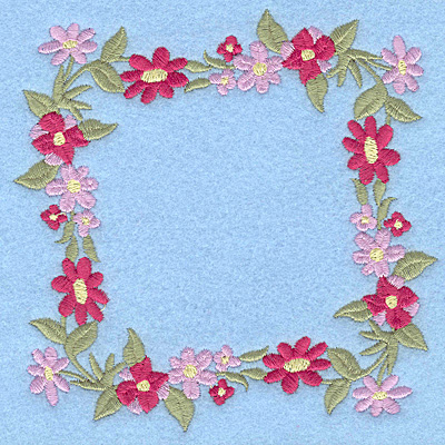 Embroidery Design: Floral Frame 4.92w X 4.92h