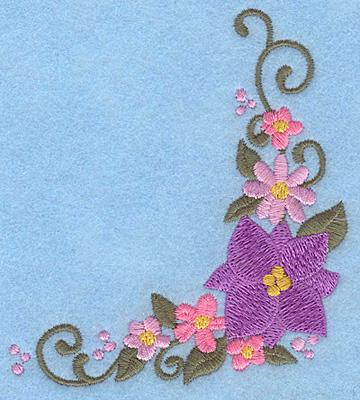 Embroidery Design: Floral corner E 3.61w X 3.89h