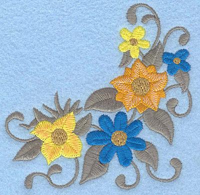 Embroidery Design: Floral corner G 3.73w X 3.87h
