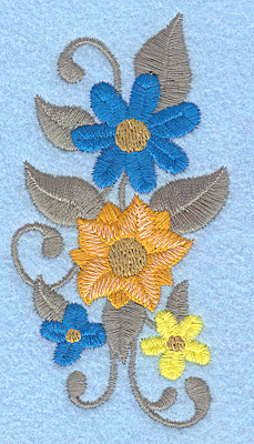 Embroidery Design: Flowers H 2.05w X 3.87h