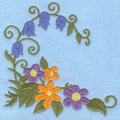 Embroidery Design: Flower and bluebell corner 3.86w X 3.87h