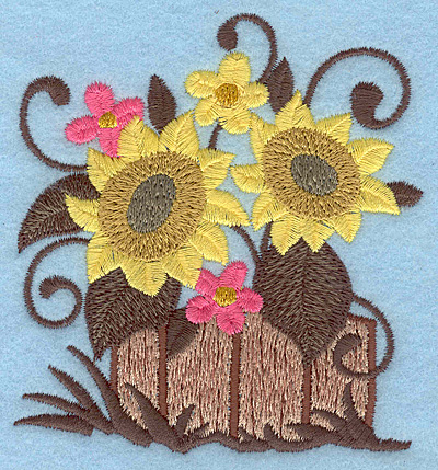 Embroidery Design: Flowers in wooden barrel 3.41w X 3.75h