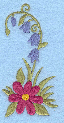 Embroidery Design: Flowers J 1.73w X 3.50h