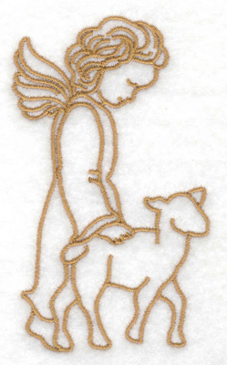 Embroidery Design: Angel with lamb 2.32w X 3.84h