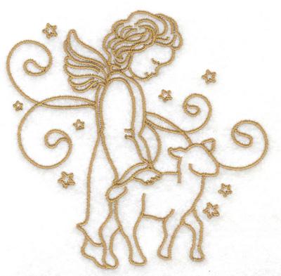 Embroidery Design: Angel lamb stars and swirls small 3.88w X 3.84h