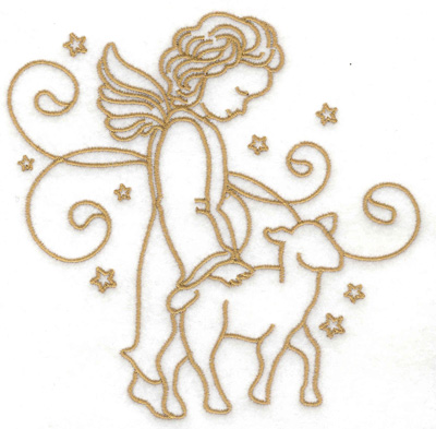Embroidery Design: Angel lamb stars and swirls large 4.97w X 4.91h
