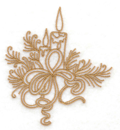 Embroidery Design: Candles pines and bows 3.18w X 3.54h