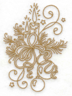 Embroidery Design: Candles pines bows swirls and stars small 2.74w X 3.82h