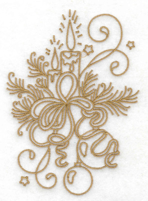 Embroidery Design: Candles pines bows swirls and stars large 3.53w X 4.93h