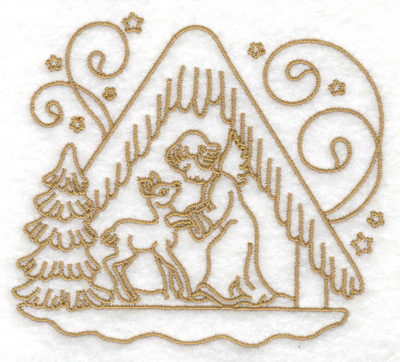 Embroidery Design: Angel with deer in manger small 3.86w X 3.45h