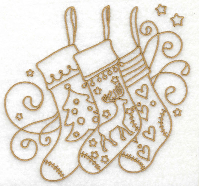 Embroidery Design: Christmas stockings stars and swirls large 4.94w X 4.91h