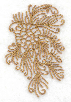 Embroidery Design: Pine bough with cone 1.94w X 3.01h